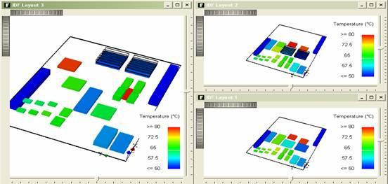按层定义PCB的布线密度与厚度  局部定义布线密度、热过孔或覆铜层  器件上添加散热器  自动辐射计算  分析带子板的PCB  完全集成的数据库功能支持元器件JEDEC标准热模型,以及www.flopack.com 提供的模型库。导入FloPACK芯片热模型(热阻网络模型、详细模型),得到准确的芯片热分析结果。  以IDF2.